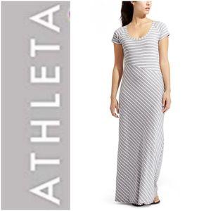 Athleta Makai Striped Maxi Dress Grey White S